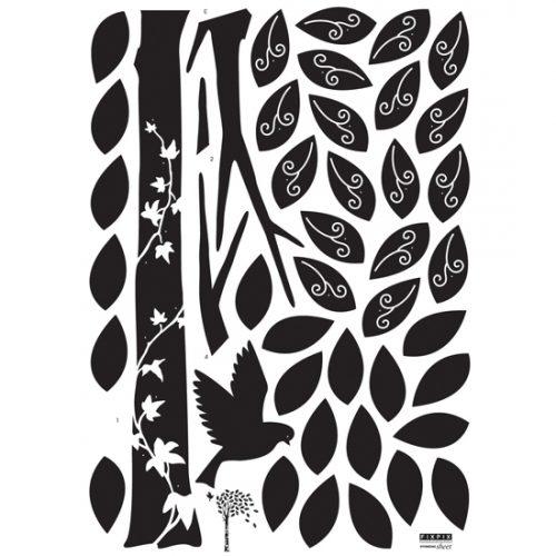 Žametno drevo s ptico - črno-89