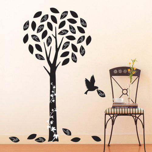 Žametno drevo s ptico - črno-0