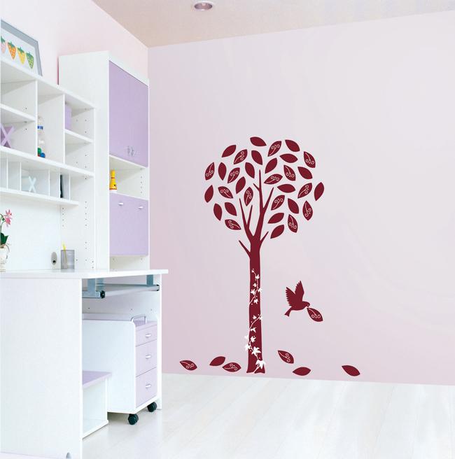 Žametno drevo s ptico - rdeče-0