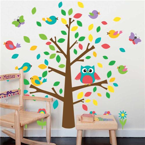 Gozdno drevo, sovica, ptički in metuljčki-448