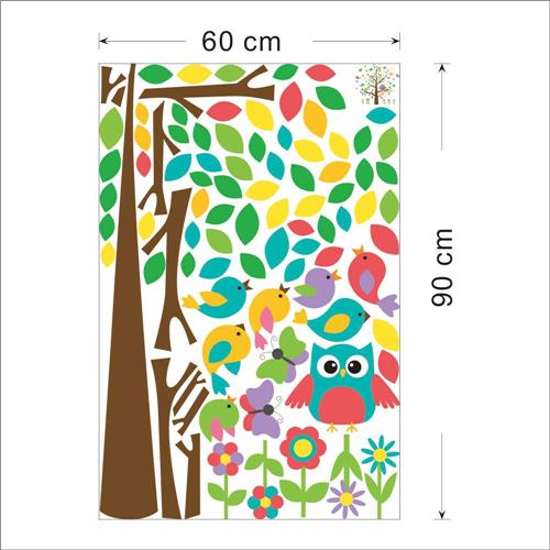 Gozdno drevo, sovica, ptički in metuljčki-450