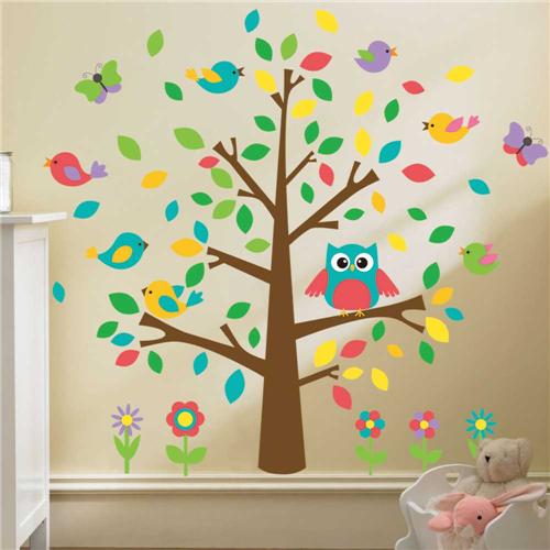 Gozdno drevo, sovica, ptički in metuljčki-0