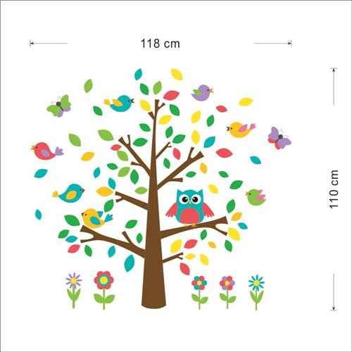 Gozdno drevo, sovica, ptički in metuljčki-449