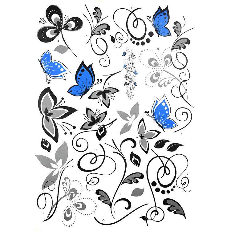 Črna plezalka in modri metulji-926