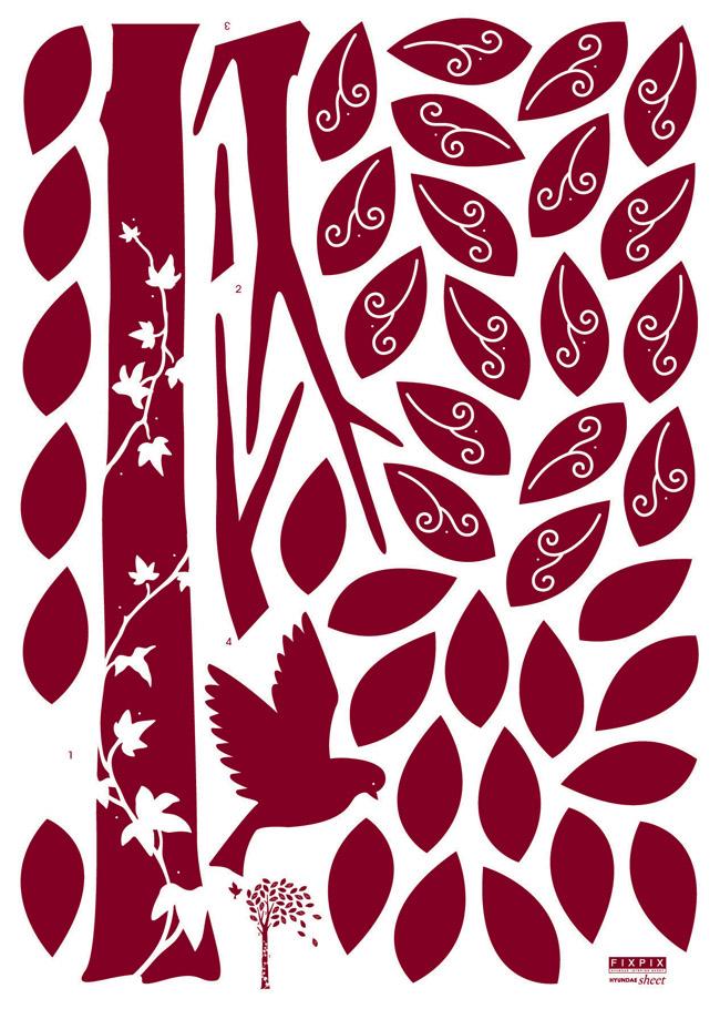 Žametno drevo s ptico - rdeče-92