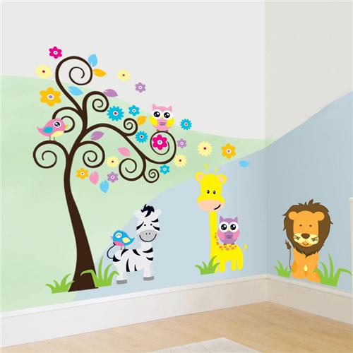 Barvito drevo, levček, žirafa in zebra-539