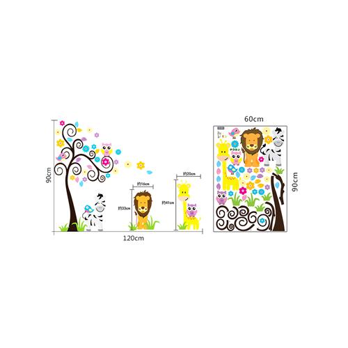 Barvito drevo, levček, žirafa in zebra-540